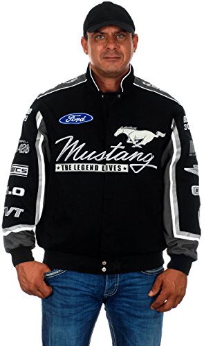 Men's Ford Mustang Embroidered Cotton Twill Jacket (2X, CLG7-black) (Mustang Cotton Jacket Ford Racing)