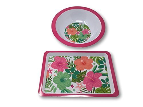 Hibiscus Flower Bowl - Summer Designs Melamine Serving Plates, Trays, Bowls - Floral, Bamboo, Pineapple, Flamingo & Beach Sea Theme (14