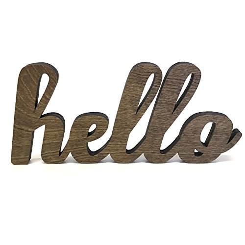 Wood Hello Cutout Sign Made of Birch Plywood Stained Dark Walnut