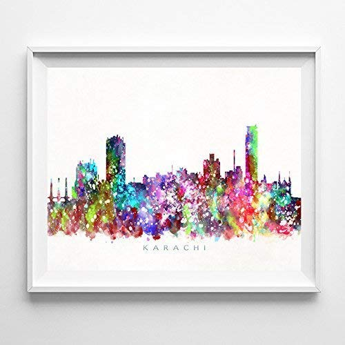 Amazon Com Karachi City Pakistan Watercolor Skyline Print Cityscape