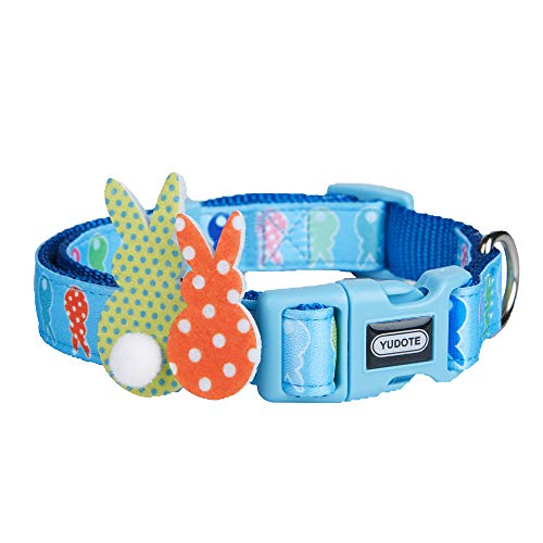 (YUDOTE Easter Dog Collar with Detachable Easter Bunny Accessories, Spring Scent Cute Blue Collars for Dogs & Puppies, Adjustable, Soft, Small, Neck 9