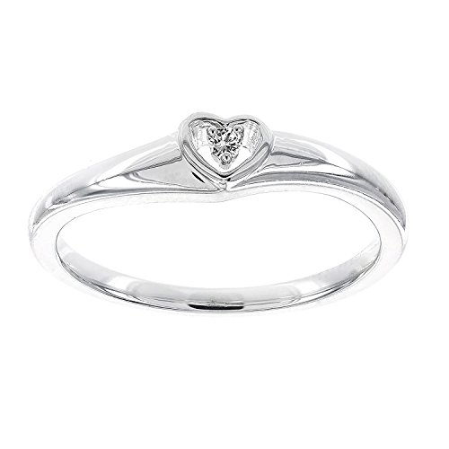 0.02 Ct Heart (Sterling Silver .02ct Diamond Promise Heart Ring (I-J)