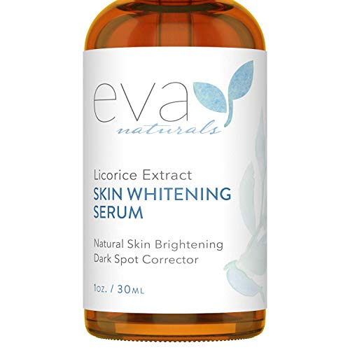Licorice Extract Skin Whitening Serum by Eva Naturals (1 oz) - Natural Skin Lightener and Dark Spot Corrector - Gently Exfoliates for a Brighter Complexion - With Lactic Acid, CoQ10 and Vitamin E ()