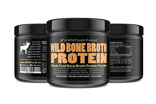 Bone Broth Protein Powder by Wild Foods | Non-GMO, Paleo, All-Natural, Unflavored, Grass-Fed Bovine Sourced (1 pound) (Grams Powder Glutamine)