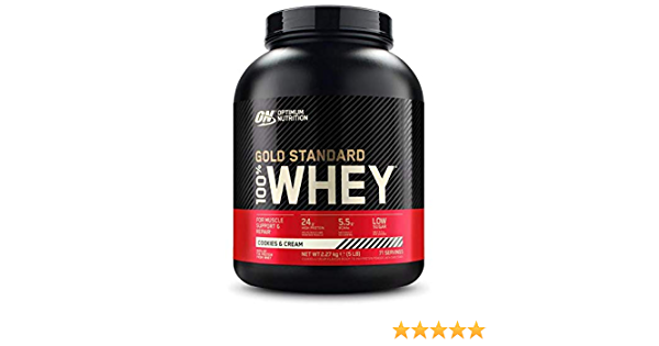 Optimum Nutrition Polvo de Proteína de Suero 100% Gold Estándar, Galletas y Crema 2270 g