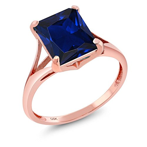 4.00 Ct Emerald Cut Blue Simulated Sapphire 14K Rose Gold Ring (Available in size 5, 6, 7, 8, (Cut Sapphire Ring)