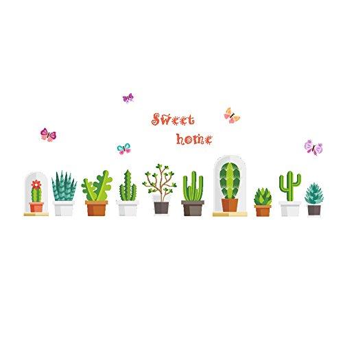 ufengke Vinilos Decorativos Pared Cactus Verde Pegatinas Murales Adhesivo Paredes Decoradas para Dormitorios Salon