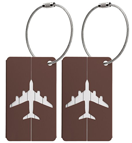 2x Luggage Baggage Tags with Name and Address Label - Brown Metallic