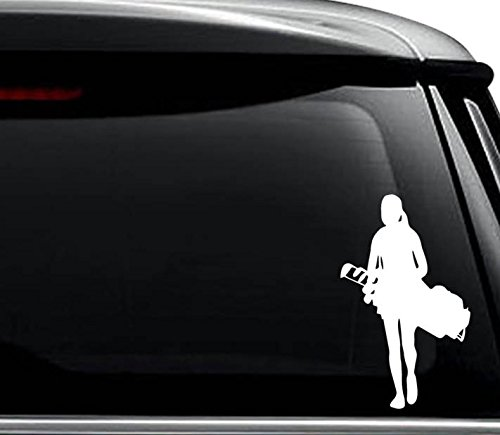 Golfer Sticker (Women Golf Golfing Golfer Decal Sticker For Use On Laptop, Helmet, Car, Truck, Motorcycle, Windows, Bumper, Wall, and Decor Size- [8 inch] / [20 cm] Tall / Color- Gloss White)