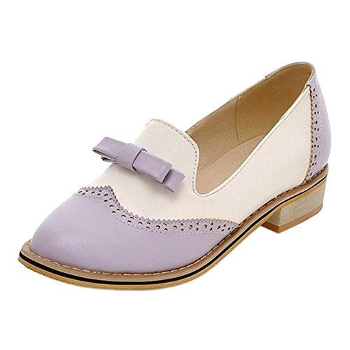 Coolcept Zapatos Oxford de Tacon Bajo para Mujer Purple
