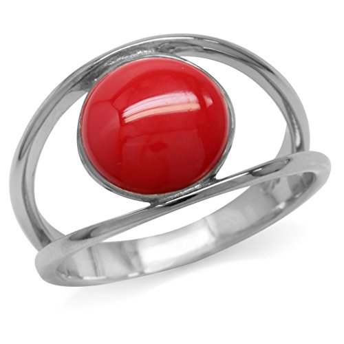 Silvershake Created Red Coral White Gold Plated 925 Sterling Silver Solitaire Ring Size 9 ()