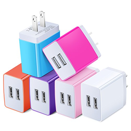 USB Power Adapter, Costyle 6 Pack 3.1 Amp Dual USB 2 Port Home Wall Charger Compatible iPhone XS Max XR X 8 7 Plus, Samsung Galaxy S8 S7 Edge Note 8, Android Device- White Pink Purple Orange Blue Rose ()