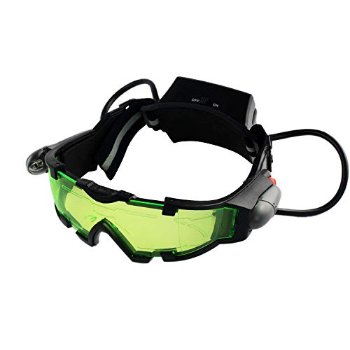 Yolyoo Spy Night Vision Goggles, Adjustable Kids LED Night Goggles Flip-Out Lights Green Lens for Racing Bicycling, Skying to Protect Eyes