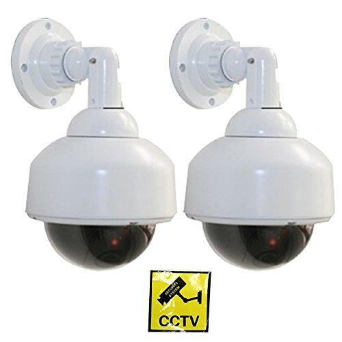 Cámara falsa simulada, WER Cámara de vigilancia falsa simulada CCTV/ Cámara de Seguridad Vigilancia Falsa/ Cámara fictícia con luz LED roja parpadeante ...