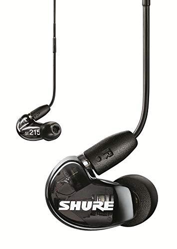 Shure SE215 In Ear Kopfhörer mit Sound Isolating Technologie, 3, 5-mm-Kabel, Fernbedienung und Mikrofon – Premium Ohrhörer mit warmem & detailreichem Klang – Schwarz