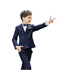 MLQM Boys Formal Suits 5 Piece Slim Fit Dresswear Suit Set Toddler Weddings