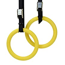 Crown Sporting Goods Polycarbonate Gymnastics Rings with Textured Grip and Adjustable Buckle Straps