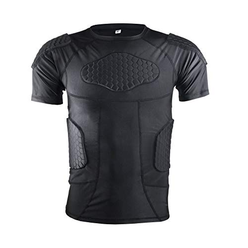 Men's Padded Compression Shirt Protective Short Sleeve T Shirt Rib Chest Protector for Football Baseball Soccer Basketball Bike Rugby Paintball Snowboard Ski Volleyball Training-Adult (Best Paintball Chest Protector)