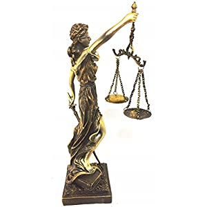 """Lady of Justice Statue with Scales, 11.5"""" Tall"""