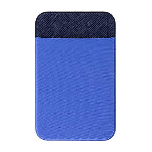 RGBIWCO - Elastic Mobile Phone Lycra Leather Wallet ID Credit Card Holder Adhesive Pocket Sticker Case (BL)