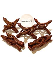 """NESSASTORES - Carved Wooden Tripod 4"""" #JC-045 (Pack of 2)"""