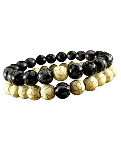 Young & Forever Men's Valentine D'Vine Yin Yang Couple Gift His Her Yoga Meditation Beads Bracelet by Young & Forever