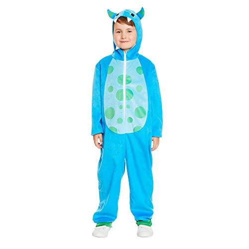 Cartoon Blue Monster Pajama Costume - Halloween Kids Hooded Onesie with Horns, S