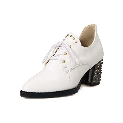 Allhqfashion Dames Solide Lakleer Katoenen Hakken Vetersluiting Met Dichte Puntige Pumps-schoenen Wit