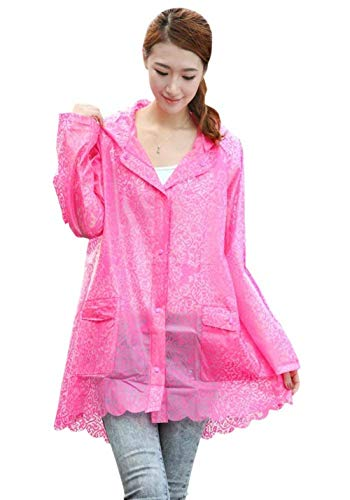 Rot Hx Cappotto Chic Riutilizzabile Trasparente Outdoor Donna Fashion Rose Impermeabile Ragazza Capispalla Poncho Lighter Travel Da fSZwfr