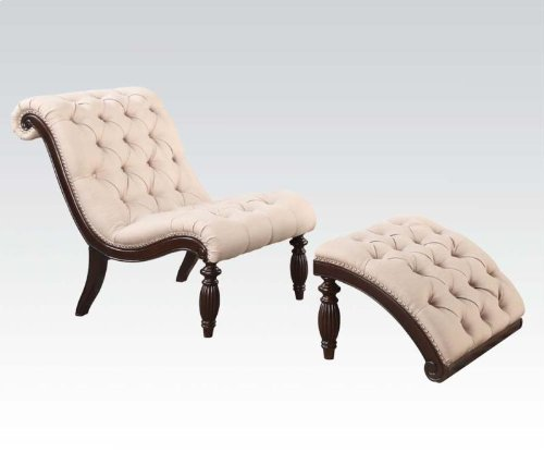 2 pc Kirby collection beige fabric upholstered and cherry finish wood framed tufted accent chair with ottoman