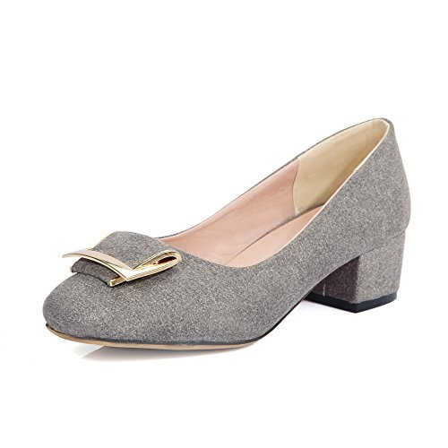 VogueZone009 Women's Pull On Imitated Suede Square Closed Toe Low Heels Solid Pumps-Shoes Gray