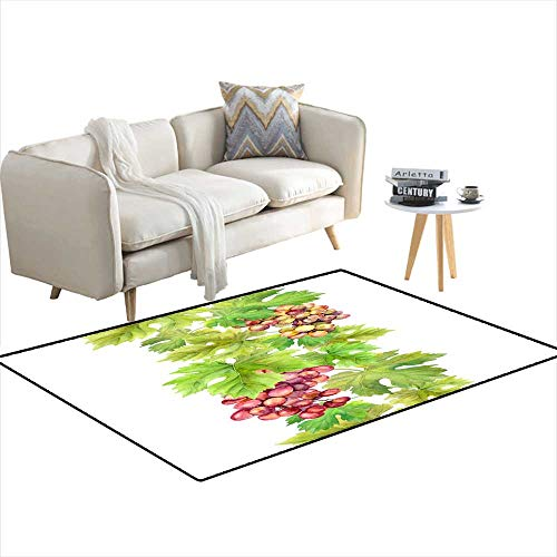Area Rugs for Bedroom Seamless Border wi Grape anleaves Watercolor Frame 4'x17'