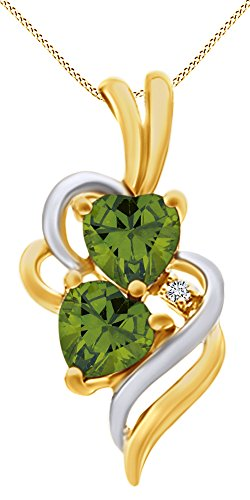 (AFFY Simulated Peridot & White Cubic Zirconia Double Swirl Heart Two Tone Pendant Necklace in 14k Yellow Gold Over Sterling Silver)