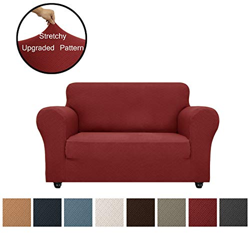 Obytex Loveseat Cover High Stretch 1-Piece Premium Slipcovers Furniture Protectors Loveseat Slipcovers Upgraded Pattern (Loveseat, Burgundy)
