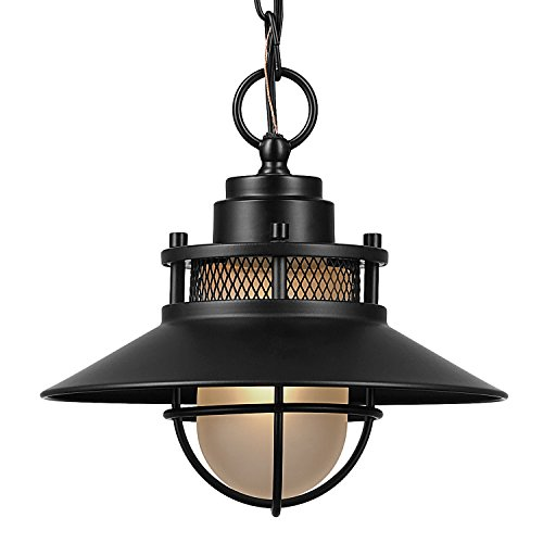 Globe Electric Liam Outdoor Pendant, Matte Black by Globe Electric (Image #2)