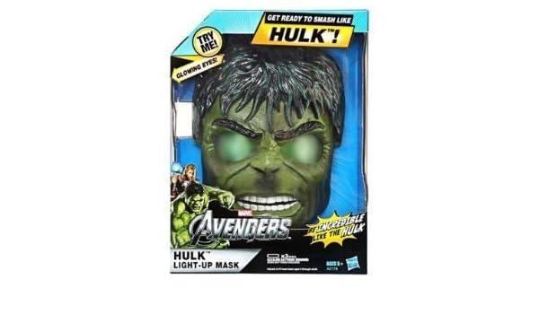 Mascara de Hulk, Avengers - La mascara se ilumina con ojos verdes brillantes gamma; con correa ajustable: Amazon.es: Juguetes y juegos