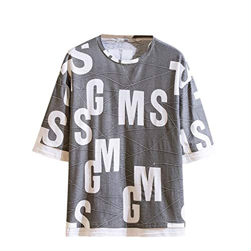 Toimothcn Men's Letter Printed T Shirts Splicing Pattern Casual Short Sleeve O Neck Tops(Gray,L)