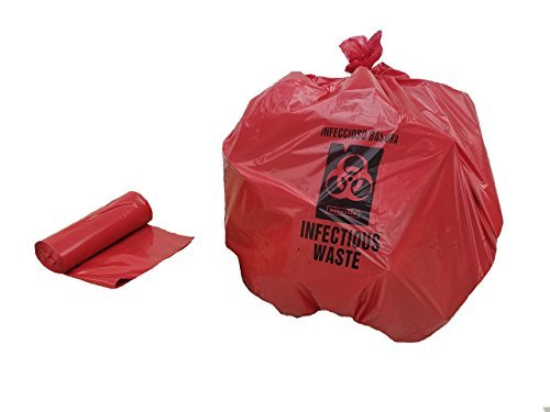 BWV-33, 24x33 inches, 500, Red Printed Medical Waste Bags, Printed .75 Mil LDPE, MADE IN USA