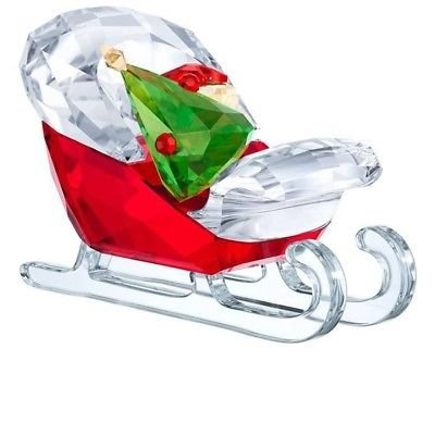 (Swarovski Santa's Sleigh Christmas Holiday Figurine, Red/Green/Clear Crystal)