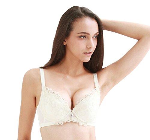 Grace's Secret Ucup Women Lace Embroidery Lightly Padded Underwear Bra,Cream,34C