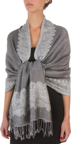 "70 x 28"" Border Pattern Double Layer Woven Pashmina Shawl / Scarf / Wrap / Stole - Gray"""