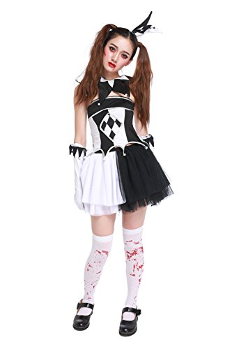 [GoLoveY Women's Playful Harlequin Clown Halloween Costume 6 pcs] (Le Belle Harlequin Adult Costumes)