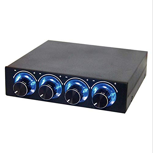 CPU Fan Controller, dezirZJjx Heat Dissipation Blue RGB Light 4 Channel Speed Fan Controller Cooling Governor (Governors Computer)