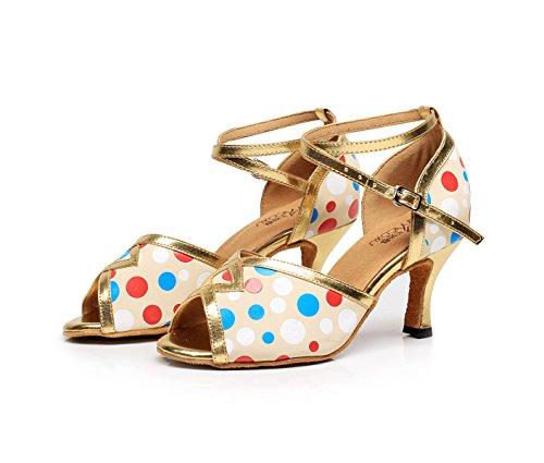 Latin Gold UK4 EU35 High Modern Samba heeled7 Chacha Tango Heels Our36 Jazz Shoes Shoes Sandals Salsa Women's Dance JSHOE 5cm 5UTBq6T