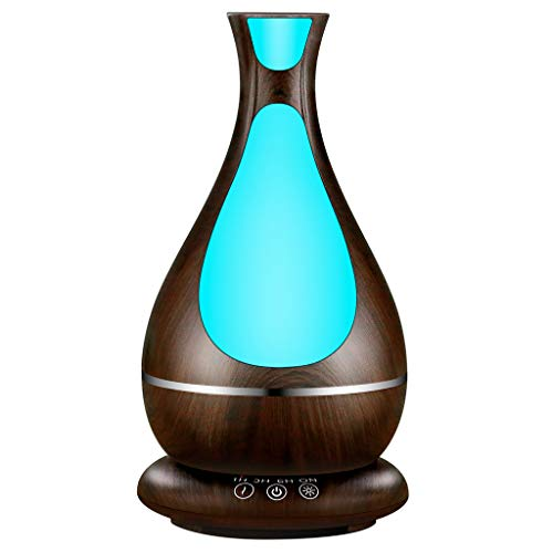 (Diffuser for Essential Oils, ATTU 400ml Super High Aroma Output Waterless Auto Shut-off and 7 Color Night Lights Dark Wood Essential Oil Diffuser)