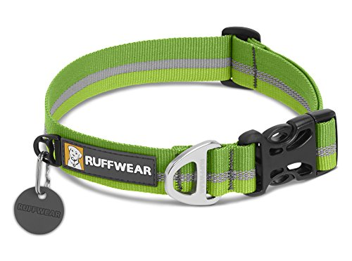 RUFFWEAR Classic Dog Collar with Reflective Trim, Medium Sized Breeds, Adjustable Fit, Medium (36-51 cm/14-20 in), Meadow Green, Crag Collar, - Harness Green Adjustable Hunter