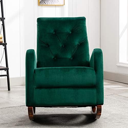 Dolonm Velvet Rocking Chair Mid-Century Modern Nursery Rocking Armchair Upholstered Tall Back Accent Glider Rocker - a good cheap living room chair