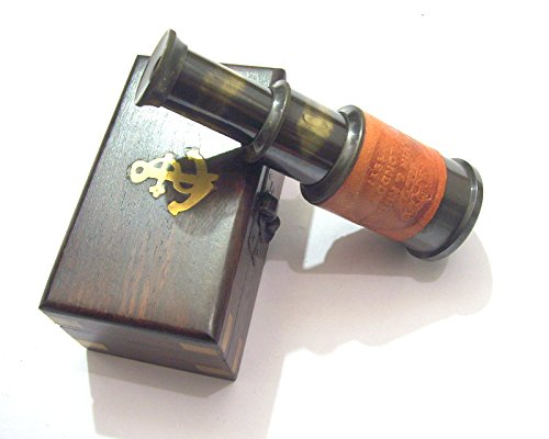 Royal Victorian Export 4.5'' Antique, Vintage Brass & Leather telescope/spyglass with wooden box, A perfect GIFT by (Orange) by Royal Victorian Export