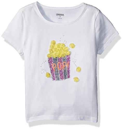 Gymboree Girls' Toddler Short Sleeve Fun Graphic Tee, White Popcorn 3T