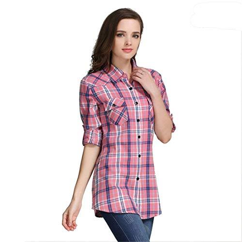 Quadri Mehrfarbig9 Moda Eleganti Classiche Vintage Bluse Bavero Camicie Camicia Bluse Autunno Lunghe A Quadretti Camicetta Basic Maniche Primaverile Casual Ragazza Shirts 5gwERx
